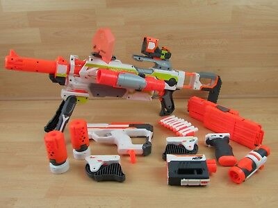 NERF N-Strike Modulus ECS-10 Blaster Gun Plus Lots of Attachments Accessories