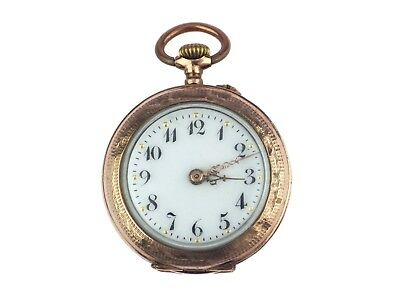 Jugendstil 8 K 333 Gold emailliert Damen Open Face Taschenuhr 30mm antik um1900