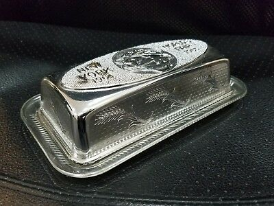 Vintage 1964 1965 New York Worlds Plastic Butter Dish Silver