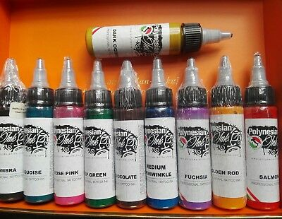 SET 10 PEZZI POLYNESIAN PROFESSIONAL INK TATTOO 30ml  SCADENZA 09/2018