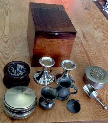 Quality lot of Antique & collectable items/Victorian Tea Caddy/spirit Measures