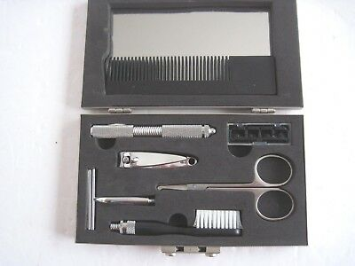 Men's Metal Case Toiletry Travelling Kit-Razor/comb/mirror/scissors/clippers