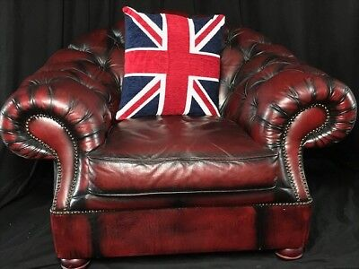 Large Handmade Chesterfield Style Leather Club Armchair Oxblood Red Xmas Gift