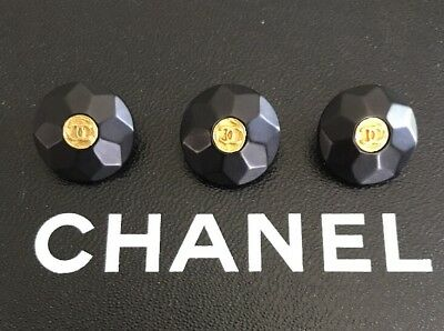 Authentic CHANEL 3 Black And Gold CC Logo Buttons-all Stamped