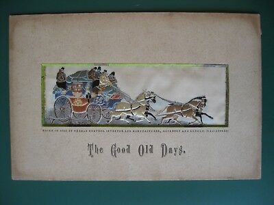 Stevengraph silk picture 1879 with RARE label THE GOOD OLD DAYS Thomas Stevens