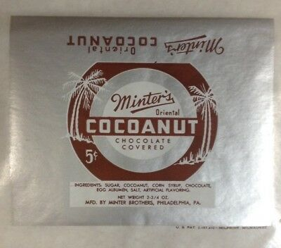 3 original Minter Cocoanut  Candy Wrappers 1940's FREE SHIPPING INV-B26