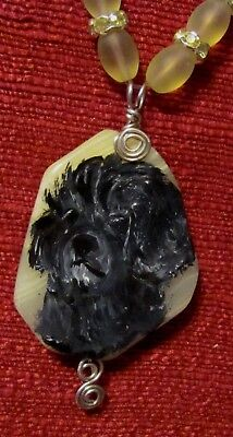 Portuguese Water Dog hand painted on freeform, wire wrapped pendant/bead/necklac