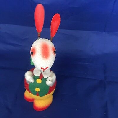 Vintage Paper Mache Basket Rabbit Candy Container West GERMANY Bobblehead Nodder