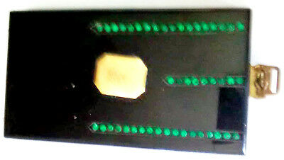 Vintage Antique Womans Black Green Beaded Coin Powder Compact Case With Mirror