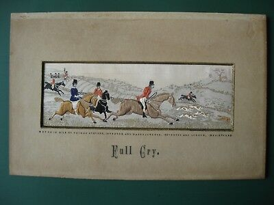 Victorian silk Stevengraph picture 1880 FULL CRY hunting horses Thomas Stevens