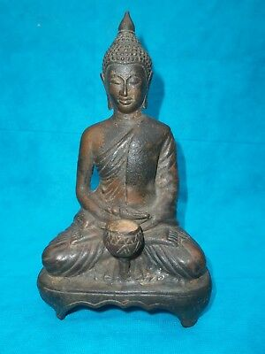 Bronze Praying Buddha w/ Conch Shell & Chalice Statue Figurine Seated on Stool