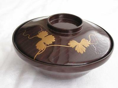 Antique Japanese lacquer chawan with wine leaves 1900-15 handpainted #3991