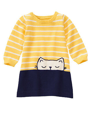 NWT Gymboree Flower Shower Kitty Cat Striped Sweater Dress Baby Toddler Girl