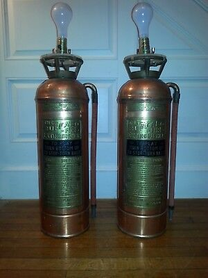 Vintage Copper & Brass Buffalo Fire Extinguisher Decorative Lamp(s)—Steam Punk