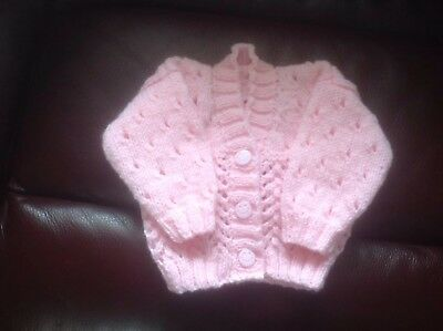 Hand Knitted Cardigan For Newborn Baby Girl