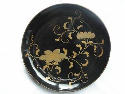 Antique Japanese lacquer plate with floral decoration 1880-1900 #3456