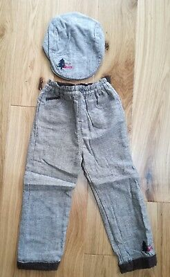 Coo chi coo Baby Boys Lined Trousers & Tweed Type Flat Cap age 2-3 years