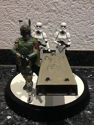 Star Wars Gentle Giant Boba Fett with Han Solo in Carbonit Top Zustand