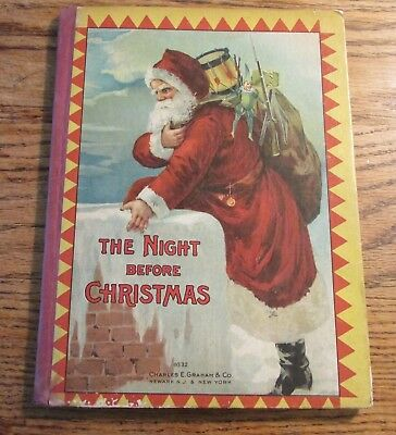 1900s Night Before Christmas Charles Graham #0532 Book Santa Cover REd Spine