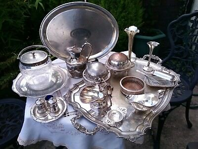 Antique Vintage Silver Plated Job Lot Tray Biscuit Jar Barrel Glass Butter Dish