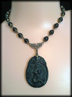 Handmade Vintage Victorian Style Carved Black Jade Mourning Necklace