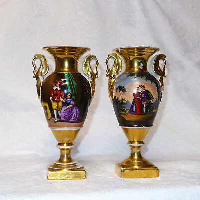 Antique Pair Old Paris French Porcelain Figurative Scenic Handled Urns