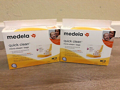 Lot of 2 Boxes Medela Quick Clean Micro Steam Bags. 10 Bags Total