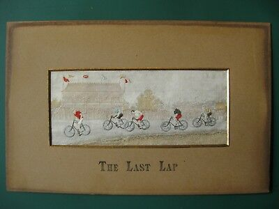 RARE Stevengraph 1894 silk picture THE LAST LAP cycle cycling Thomas Stevens
