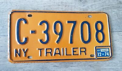 1974 New York NY Trailer License Plate Tag C-39708