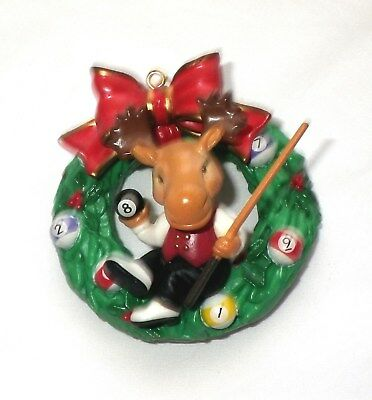 Vintage MOOSE Playing BILLIARDS POOL BALL CUE STICK WREATH Christmas ORNAMENT