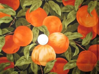 YUMMY Vintage FRESH PEACHES On BRANCHES On BLACK 1990's COTTON Fabric-over 1 yd