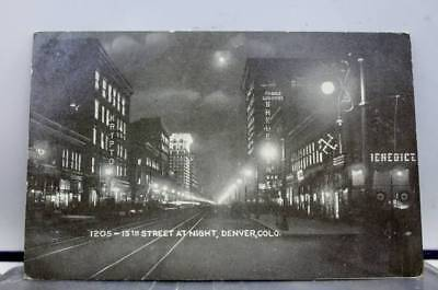 Colorado CO Denver 15th Street Night Postcard Old Vintage Card View Standard PC