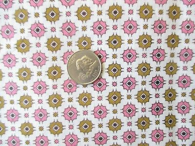 RETRO Vintage OLIVE PINK FLOWER SHAPES On WHITE 1950's COTTON Fabric-shy 2 yd