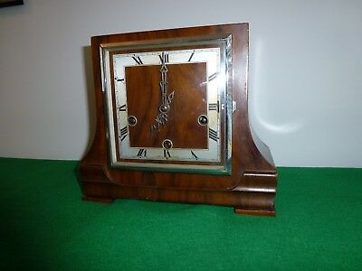English Art Deco Westminster Chimes Mantle Clock.