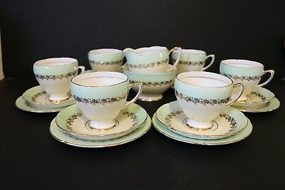 Royal Grafton Tea Set Yellow Green Gold Flowers Pretty Cup Saucer Milk Sugar