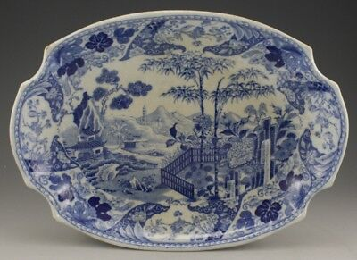 Antique Pottery Pearlware Blue Transfer Wedgwood Blue Bamboo Dessert Dish 1820