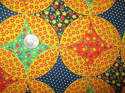 Vintage YELLOW RED BLUE GREEN FLOWER PATCHWORK 1970's COTTON Fabric-over 2 yd