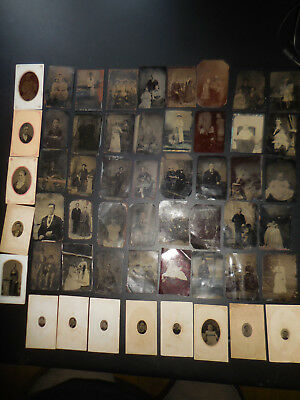 Large Lot Of Over 50 Antique Tintype Photos