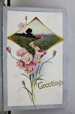 Greetings Country Road Flower Floral Farm Postcard Old Vintage Card View Post PC