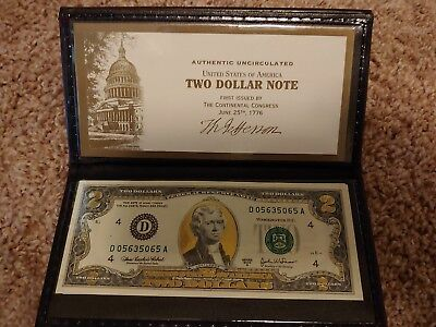 2003A-22K Gold Leaf $2 Two Dollar Bill, Federal Reserve Note. Uncirculated
