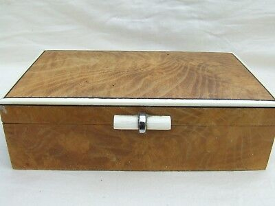 art deco trinket box with inlayed trim  Wooden Box