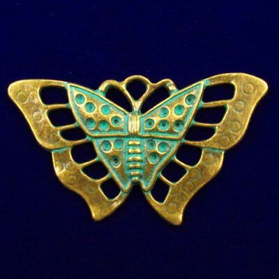 F41161 Carved Brass Bronze Butterfly Pendant Bead 56x30x2mm