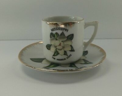 Vintage Mississippi The Magnolia State Travel Souvenir Tea Cup and Saucer Set