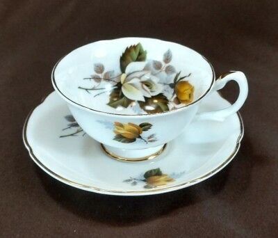 Vintage Royal Grafton Fine Bone China Made in England ~Footed Tea Cup and Saucer