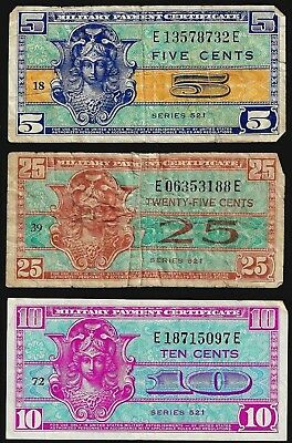Lot of Three Series 521 Military Payment Notes 5, 10, 25 cents