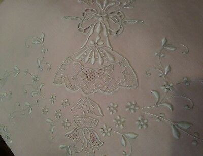 "Madeira or Appenzell Embroidered - 42"" Linen Tablecloth Marghab Quality"