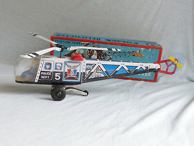 Sanko Police Helicopter Blech Spielzeug Tin Toy 60er Jahre Japan in Box