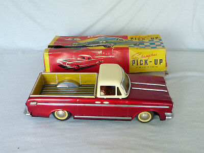 Red China MF 151 Shanghai Pick-Up Blech Auto Tin Toy Car 70er Jahre in Box 30cm