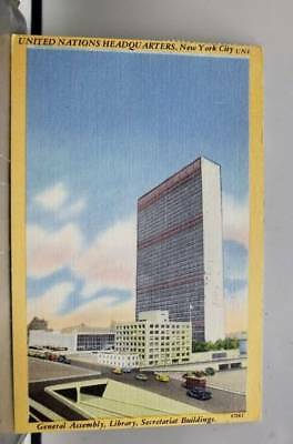 United Nations UN Headquarters General Assembly Library Secretariat Postcard Old