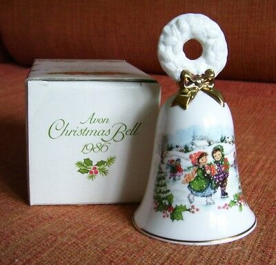 AVON 1986 Holiday Christmas Bell Gold Trim w Box